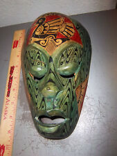 Wood Tribal Style Africa Mask, hand carved, 9 x 6, fantastic reproduction, green