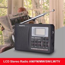 Black Mini Portable FM Radio SW FM TV LW AM Alarm Clock Antenna Music Receiver