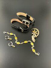 Costume Jewelry Lot Liz Claiborne Fairy Brooch Watch Bracelets Silver Earrings