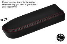 Rojo Stitch 2x Puerta Apoyabrazos De Cuero Negro Skin cubre encaja Nissan Navara D22