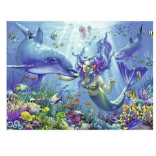 5D Diamond Painting Full Colorful Drill Mermaid And Dolphins Craft Art Leisure