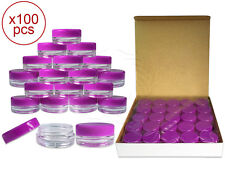 100 Pieces 3Gram/3ml Plastic Round Clear Sample Jar Containers with Purple Lids