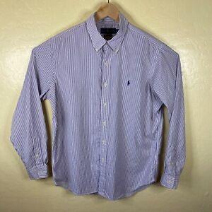 Ralph Lauren Button Down Shirt Mens Large Purple Striped Performance Long Sleeve