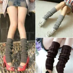 Women Ladies Winter Warm Leg Warmers Knit Knitted Crochet Long Socks AA