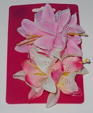 10cm Large Stripy Satin Silky Fabric Flower Hair Clips Bobbles Bridesmaid Bridal