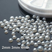 3 Sizes Nail Art White Pearl Rhinestone Decoration + Wheel #056V