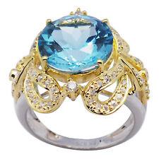De Buman Sterling Silver 7.36ctw Genuine Swiss Blue Topaz Ring, Size 7