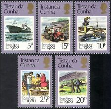 Tristan da Cunha 1980 Ship/Tractor/Harbour/Crane/Mail/Post/StampEx 5v set n41669