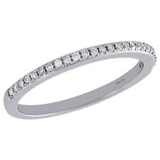 Ladies Right Hand Cocktail Ring 1/8 Ct. 10K White Gold Diamond Slender 1 Row