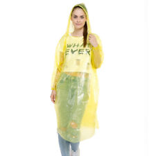 5X Disposable Hooded PE Raincoat Poncho Plastic Rain Coat Rainwear Hoodie Clear