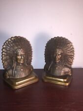 ANTIQUE / OLD SOLID BRONZE INDIAN CHIEF BOOKENDS - INDIAN HEAD BOOK ENDS