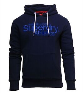 Superdry Mens New Core Logo Athletic Hoodie Overhead Long Sleeve Pullover Navy
