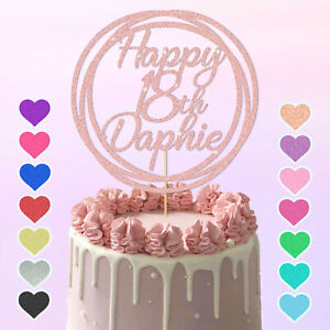 Personalised Circle Design Cake Topper Any Name Age Birthday 16th 18 21 30 40 50