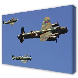 BATTLE of BRITAIN Lancaster Spitfire Hurricane ~ Canvas Print Photo Art: 5 Sizes