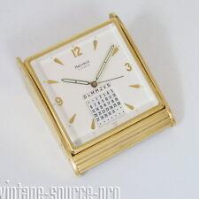 alte Helveco Luxus Messing Tischuhr Wecker ewiger Kalender Swiss Made 50er Jahre