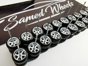 10 set CHROME Samed Wheels 6 spoke 1:64 rubber wheels #2