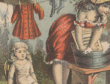 1880s BUCHAN'S CARBOLIC TOILET SOAP TRADE CARD, LG DOLL & KIDS * ON SALE * TC443