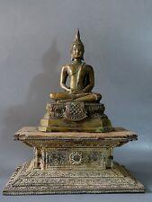 Beautiful & Rare Old Buddha Sitting on Wood Buddha Base Cheap Don't Miss