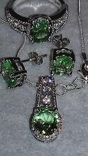Oval Grün Citri und Weiß safir  925 Silber Set Ring-56