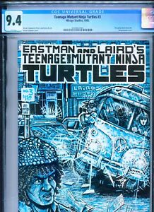 1985 MIRAGE STUDIOS TEENAGE MUTANT NINJA TURTLES #3 1ST PRINT CGC 9.4 WHITE BOX3