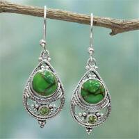 Vintage 925 Silver Turquoise Ear Hook Dangle Drop Earrings Women Wedding Jewelry