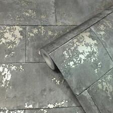 Rasch Charcoal Grey Concrete Brick Wallpaper Distressed Stone Wall Metallic