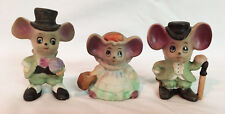 Vintage Porcelain set of 3 Mouse Figurines Two w/Top Hats & Girl in Dress