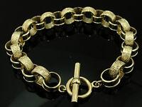 B068 Genuine 9ct SOLID GOLD Heavy Belcher TOGGLE Bracelet Leaves Pattern 8 inch