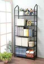 New 5 Tier Metal Book Shelf Storage Display Furniture Bookshelf Organizer, Black