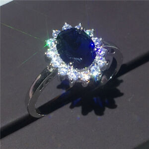 Gorgeous Blue Sapphire Jewelry Rings Women 925 Silver Engagement Rings Size 6-10
