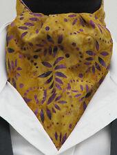 Mens Tan Brown Mustard & Lilac Batik Design Cotton Ascot Cravat & Pocket Square