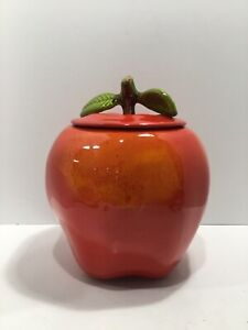 California Pottery 824 Large Red Shiny Vintage Apple Cookie Jar