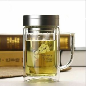 iDrop520mlEco-friendly double wall glass tea water bottle glass cup with infuser