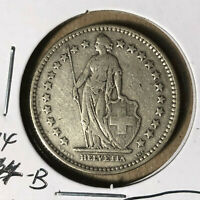 1914-B Switzerland 2 Francs Silver Coin VF/XF Condition