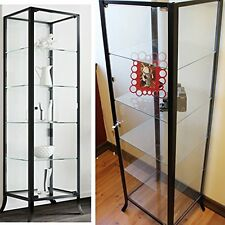 Modern Glass Curio Cabinet Display Case Metal Frame Store Door Fixture Shelves