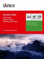 A4 Double Side Matte Inkjet Laser Photo Paper Printed 220Gsm - 40 Sheets Uinkit