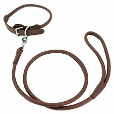 FREENY LEATHER Dog Collar with Leash 4 Ft Round Rolled