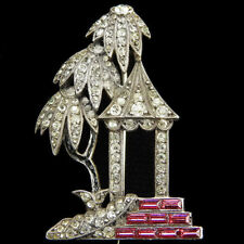 Art Deco Sterling Pave Pagoda with Palm Trees and Invisibly Set Ruby Steps Pin