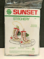 Sunset #167 Old Fashioned Ice Skates Ornament Crewel Embroidery Kit Sealed