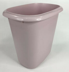 """Vintage Rubbermaid Pale Mauve Small Waste Basket 10"""" Vanity Litter Can USA"""
