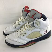 detailed look 6a478 97c68 AIR JORDAN V 5 RETRO Shoes Men Sz 12 INDEPENDENCE DAY WHITE RED NAVY 136027-