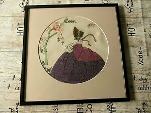 VINTAGE HAND EMBROIDERED PICTURE IN FRAME OF CRINOLINE LADY - BEAUTIFUL