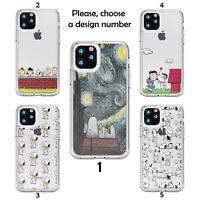 Snoopy Design case for iPhone 12 11 Pro Max XR SE X XS 8 7 clear silicone SN