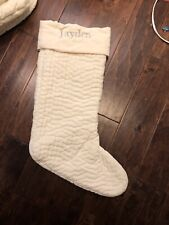 New Pottery Barn Channel Quilted Velvet Christmas Ivory Large Stocking *Jayden
