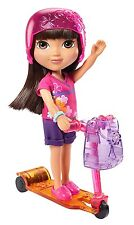 "Dora Loves Adventure 8"" Doll with Scooter, Skates, Sneakers, Helmet and More NEW"