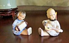 Vintage Girl Angels Figurine Playing Concertina & Guitar Porcelain EUC