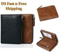 Mens RFID Blocking Bifold Leather Wallet ID Credit Card Holder Zipper Wallet