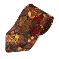 Brooks Brothers Handsome Harvest Feast Golden Brown Leaves Fruits Silk Neck Tie
