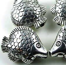 4  Silver Pewter Fish Focal  Bead 25x20mm ~ Lead-Free ~