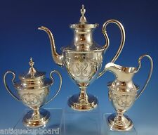 Old Maryland Engraved by Kirk Sterling Silver Tea Set 3pc (#1175)